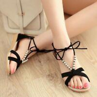 Womens Flat Low Heel T-Strap Black Sandals Open Toe Summer Beach Work Roma Shoes