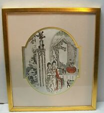 Print in Gold Wood Frame Black and White Splash of Red Rust Vintage Chinese
