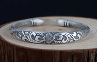 925 SOLID STERLING SILVER OM MANI MANTRA SUTRA LOTUS FLOWER FLORAL BANGLE CUFF