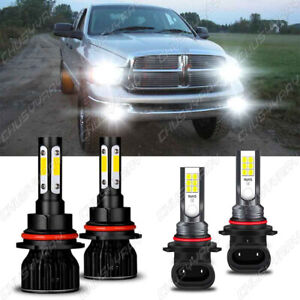 For 2002-2004 Dodge Ram 1500 2500 3500 LED Headlight High/Low+ Fog Light Bulbs