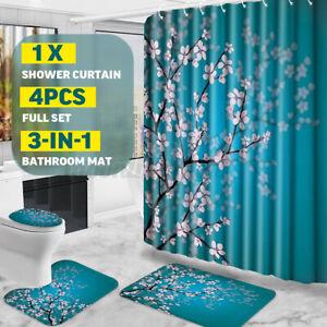 4Pcs/Set Bath Shower Curtain Flower Plant Toilet Seat Cover Bath Mat Waterproof