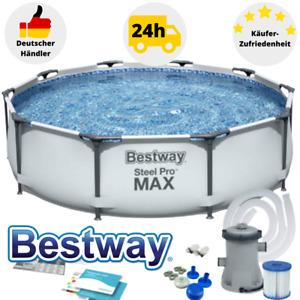 Bestway Steel Pro Frame Pool Schwimmbecken Gartenpool 305x76 mit Filterpumpe Set
