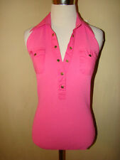 CACHE ' PINK RIBBED LOW CUT BUTTON BACKLESS HALTER ACCENT BLOUSE TOP SIZE S