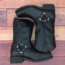 BONANZA Men's Saddle Biker Boots Genuine Leather Size 10.5 Black Shoes