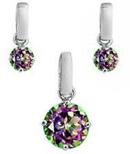 .925 Sterling Silver Rainbow Colored Cz Pendant and Earrings
