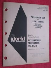 1974-1977 World Generator Co. Alternators Generators Starters Catalog Supplement