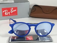 New Authentic Ray-Ban Round Phantos Sunglasses Matte Blue Gray Flash Lens RB4243