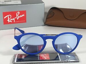 Authentic Ray-Ban Round Phantos Sunglasses Matte Blue Gray Flash Lens RB4243 New