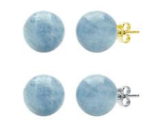 Genuine Milky Aquamarine Stud Earrings: 14k Yellow Gold | 14k White Gold