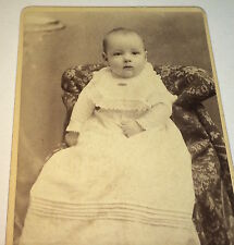 "Antique Victorian American Baby / Child ""Martha"" White Fashion Dress! CDV Photo!"
