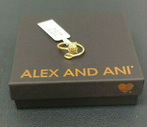 Alex and Ani LADYBUG RING WRAP 14K  Gold Plated W/Tag Card Pouch & Box