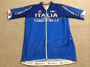 Castelli Cycling Mens Jersey Size Extra Large XL Italia Italy Blue Bike