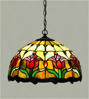 """Free Postage 12"""" JT Tiffany Tulip Stained Glass Pendant Light Art Deco"""