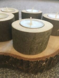 10 X Candle Holder Wedding Country Style Wooden Tea Lights