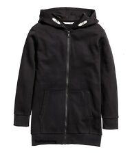 NEW H&M* Boys Cotton Blend Long Hooded Jacket  Black Size 12-14 Y_