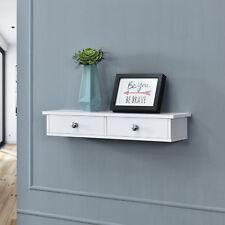en.casa® Wandregal mit 2 Schubladen Regal Ablage Hängeregal Wand 10x60x15cm weiß