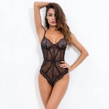 Womens Sexy Teddy Lingerie Babydoll Push Up Lace Babysuit G-String Nightwear UK