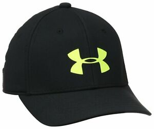 NEW Under Armour Youth Boys Headline Stretch Fit Cap-Black/Yellow [S/M]