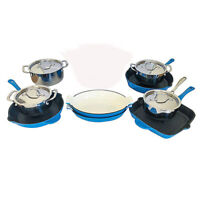 Le Chef 13-Piece Cookware Set Enameled Cast Iron, France Blue. on Sale!