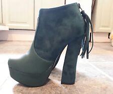 size 3 high platform green shoes