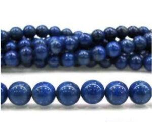 "Smooth 8mm Egyptian Blue Lapis Lazuli Gemstone Round Loose Beads 15"" Strand"