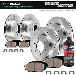Front + Rear Drilled Slotted Brake Rotors And Ceramic Pads For Frontier Xterra