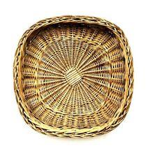 Vintage Square Woven Wicker Rattan Fruit Tray Bowl Bread Basket Boho Farmhouse