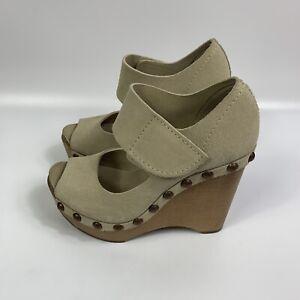 Pedro Garcia Size EUR 36/US 6 Wooden Platform Wedge Tan Suede Studded Sandals