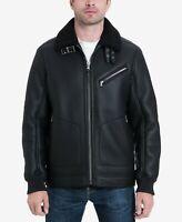 Michael Kors Faux Leather Sherpa Fleece Collar Jacket Size XL Bomber