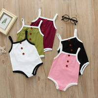 Newborn Infant Baby Boys Girls Summer Sleeveless Romper Bodysuit Clothes Outfits