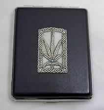 100 mm Black Leather 20pcs Cigarette Case/ID Holder-Leaf Pewter Panel
