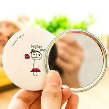 Newly 1PC Mini Round Cosmetic Mirror Cute Hand-painted Chic Makeup Mirror Random