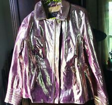 GOLD FOILED PINK LEATHER COAT M Shiny Jacket Costume Cosplay Jem CHI by Falchi