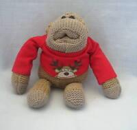 Soft Toy Brooke Bond PG Tips Knitted Christmas Monkey Chimp Johnny Vegas Fr P&P