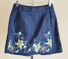 Villager Sport Liz Claiborne Womens Petites 10 Skorts Denim Hawaiian Floral Cott