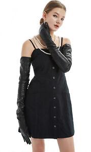 "women super 80cm(31.5"") long plain real leather evening/opera gloves black"