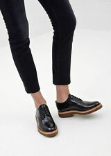 Woman's Dries Van Noten Black Patent Leather Derby Shoes Size 36.5