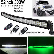 White/Green/Strobeflash 52 inch 300W Curved Led light Bar Offroad Hunting Remote