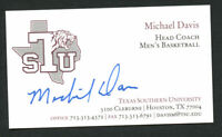 Michael Davis signed autograph Texas Southern Basketball Business Card BC045