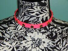 Tory Burch Studded Emblems 15.5  Dark Neon Pink Leather Choker Wrap Bracelet EUC