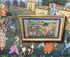 Feinste erotische Miniaturmalerei, Indien: Prinzessin und Palast  Orig. Gemälde
