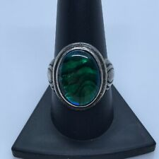 Kabana Sterling Silver 925 Large Green Abalone Oval Stone Ring Size 9.75