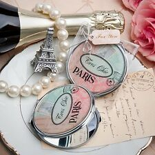 1 Pretty Paris Themed Mirror Compact Wedding Favor Reception Gift French Vintage