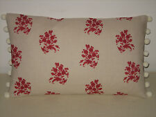 """NEW Kate Forman Agnes Red Linen Fabric 20""""x12"""" Pom Pom or Piped Cushion Cover"""