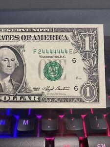 1993 $1 DOLLAR  ALMOST SOILD NOTE ~GEM BINARY NUMBER 24444444 99.51% SUPER RARE!
