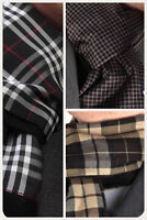 BROWN, BEIGE or GREY CHECK DOUBLE SIDED CASHMERE SCARF - ITALIAN DESIGNER