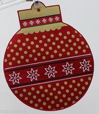 Christmas Food Network 2 Red & Gold Round Ornament Placemat w/Embroidered Detail