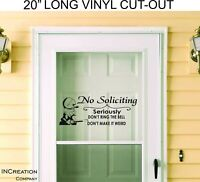 Door Vinyl No Soliciting Warning Sign Decal Sticker Banner Security elmer fudd
