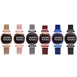 Mesh Band LED Digital Wristwatch Magnet Buckle Quartz Watch Female Jewelry
