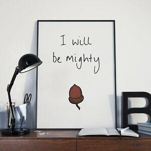 I will be mighty - Oak - Acorn - Poster / Hand Drawn Print
